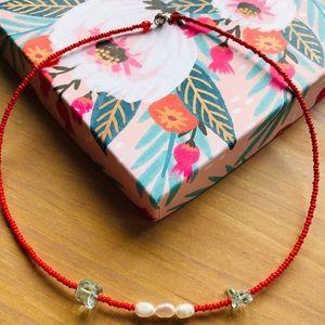 Jewelry - Genuine pearl, aquamarine, and seed bead necklace
